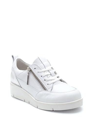 Derimod Kadın Deri Fermuar Detaylı Ayakkabı Beyaz